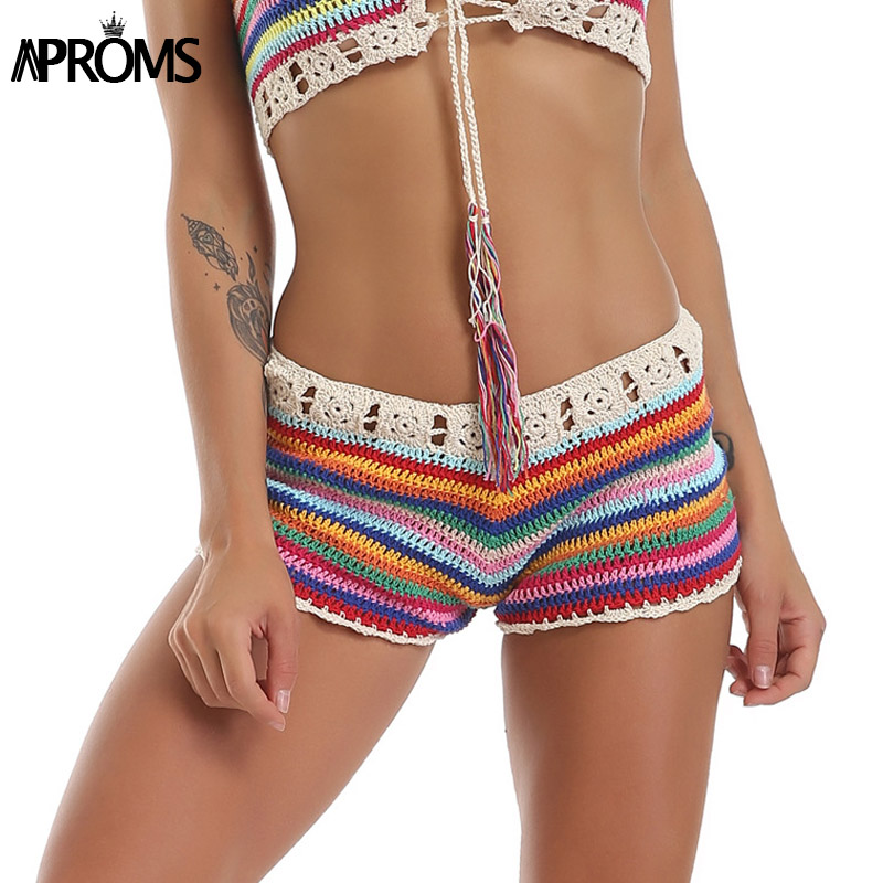 Aproms Mixed Colorful Stripe Knitted Crochet Shorts Women Fashion 2019 Summer Elastic Low Waist Shorts Beach Tight Shorts Bottom