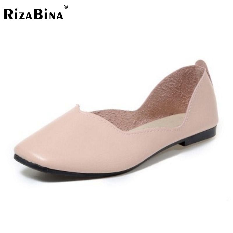RizaBina Simple Women Flats Shoes Square Toe Solid Color Flats Shoes Women Office Lady Leaisure Daily Women Shoes Size 35-40 rizabina concise women sneakers lady white shoes female butterfly cross strap flats shoes embroidery women footwear size 36 40