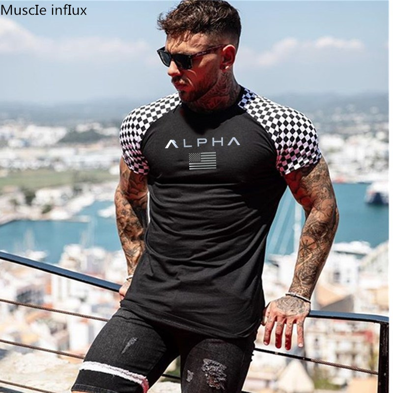 2019 Fashion stitching   T     Shirt   Men Cotton Breathable Mens Short Sleeve Fitness   t  -  shirt   Gyms Tee Tight Casual Summer Top