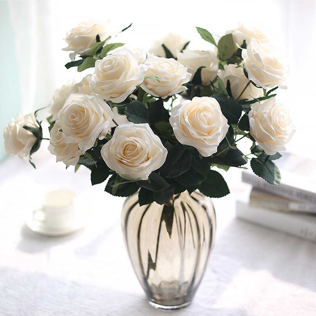 1 Bunch Artificial Silk French Rose Floral Bouquet Fake Flower