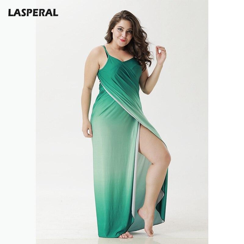 LASPERAL Boho Sexy Spaghetti Strap Halter Maxi Dress Women Sleeveless Overall Summer Gradient Beach Vestidos Towel Plus SIze 5xl