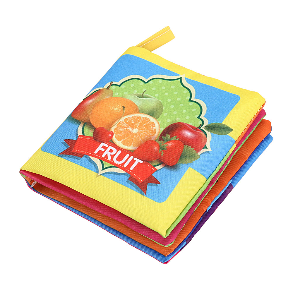 Baby Kids Child Early Educational Cartoon Cloth Book Toys Soft English Fruit Cloth Book  Baby Infant Toy Anti-tear