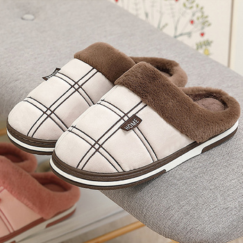 Winter warm slippers men Suede Gingham Short plush Indoor shoes for male Non slip Cozy Velvet Waterproof Fur home men slippers 1