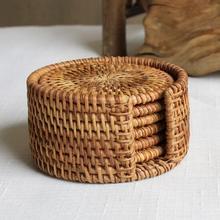 Posavasos de mimbre, juego de ollas, alfombrilla de mesa, 6 tamaños, Porta vasos, manteles individuales, decoración del hogar, bambú Vintage hecho a mano