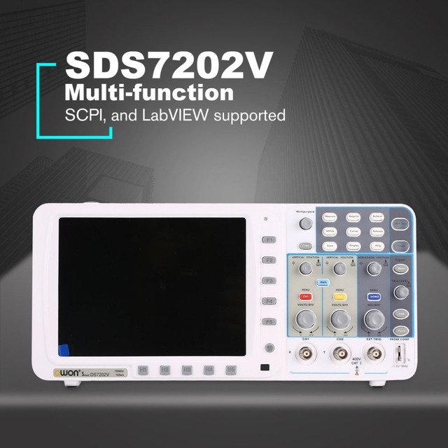 US $523 75 |OWON SDS7202V Double channel Deep Memory LCD Display Digital  Storage Oscilloscope Scopemeter Scope Meter 200MHz 1GSa/s-in Oscilloscopes