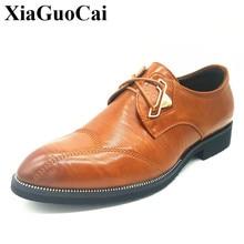 Официальная обувь, EJ8858 мужчин британский острый носок Бизнес Обувь кожаная модная универсальная Модельные туфли стильные Кружева-оксфорды на шнуровке H299 35