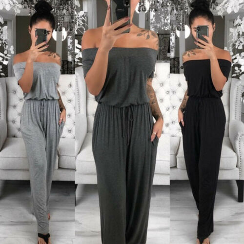 Womens Summer Casual Loose Girdling Off-Shoulder Long Sleeve Playsuit Solid Ladies Evening Party Wide Leg Jumpsuit