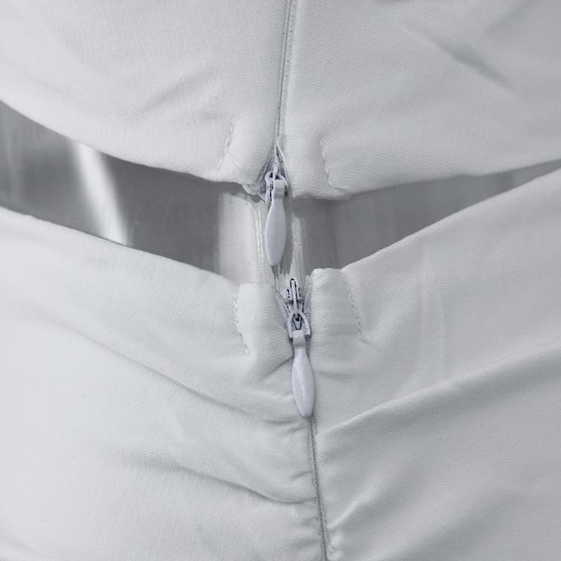 One Shoulder 2 Piece White Bodycon Dress 7
