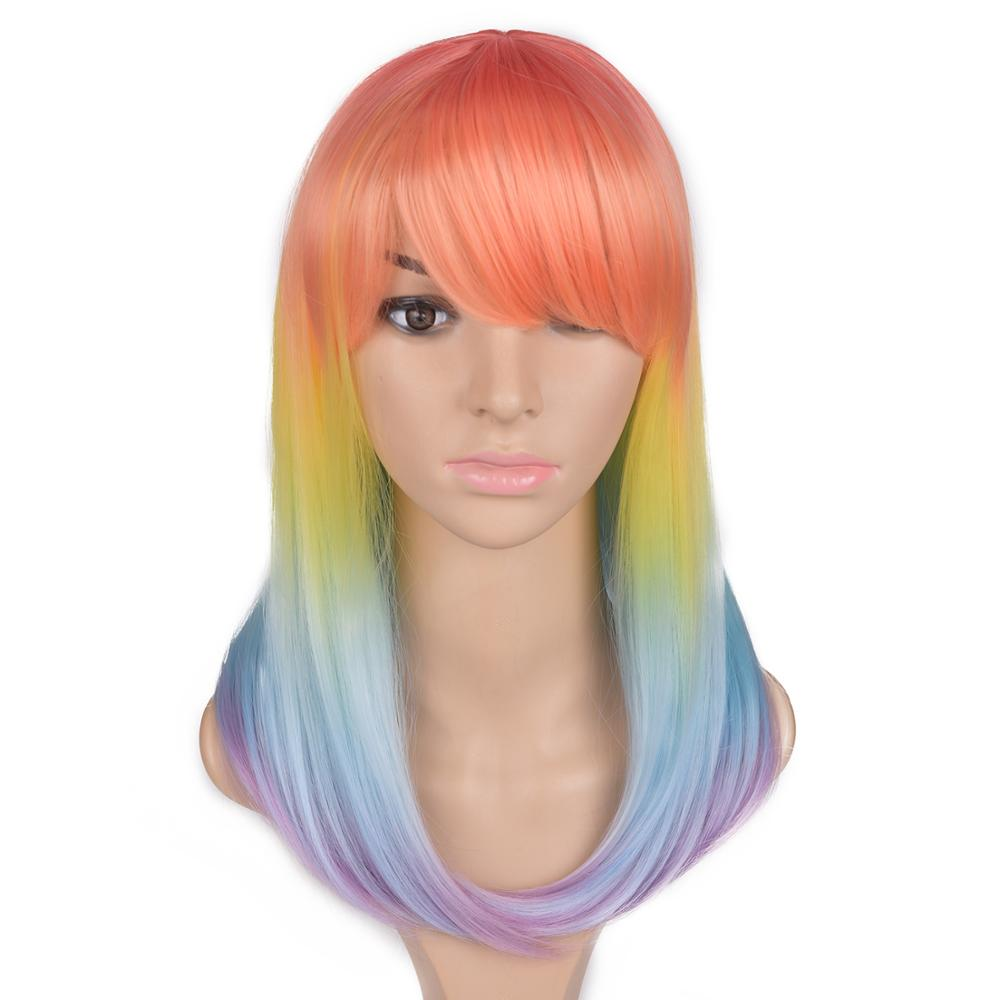 Ombre Long Straight Synthetic Wigs With Bangs 14Inches Natural Rainbow Orange Purple Wigs For Women Heat Resistant Cosplay Wig in Synthetic None Lace Wigs from Hair Extensions Wigs
