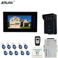 JERUAN 7`` Touch key Video Intercom Door Phone System + 1 monitor + Waterproof RFID Touch key Camera+Remote control + 10 ID