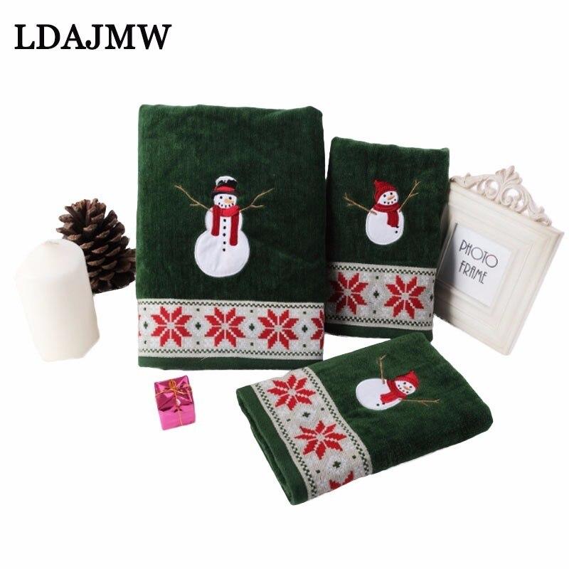100% хлопок зеленый 2 шт. бархатное рождественское полотенце мультфильм снеговик