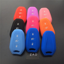 ZAD silicone rubber car key fob case cover holder shell for Peugeot 308 508 2008 3008 4008 5008 for Citroen smart remote key