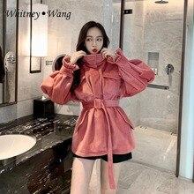 779fe5bb74f295 WHITNEY WANG 2018 Automne Hiver Mode Streetwear Ceinture Brillant Tweed  Tranchée Manteau Femmes Casual Manteau D hiver Survêteme.