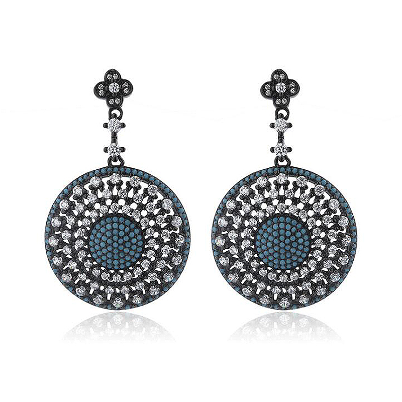 Ruifan Bohemia Round Shape Turquoise Zircon Drop Earrings for Women Black Color 925 Sterling Silver Female Party Jewelry YEA160 pair of stylish faux turquoise crescent shape drop earrings for women