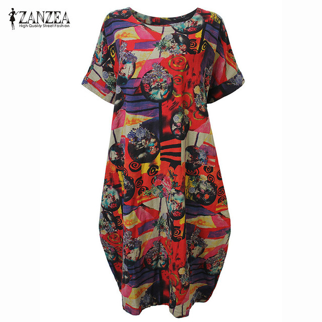 7c1e2ce7c81 ZANZEA 2018 Summer Casual Loose Cotton Linen Oversize Floral Print Midi Dress  Women Vintage Short Sleeve Vestidos Shift Dresses