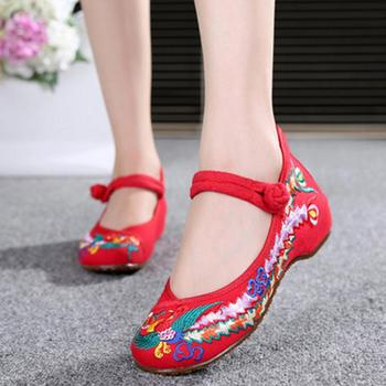 Chinese Shoes Women Embroidery Mary Jane Fabric Flats Traditional Embroidered Old Peking Flower Canvas Casual Large Size 41
