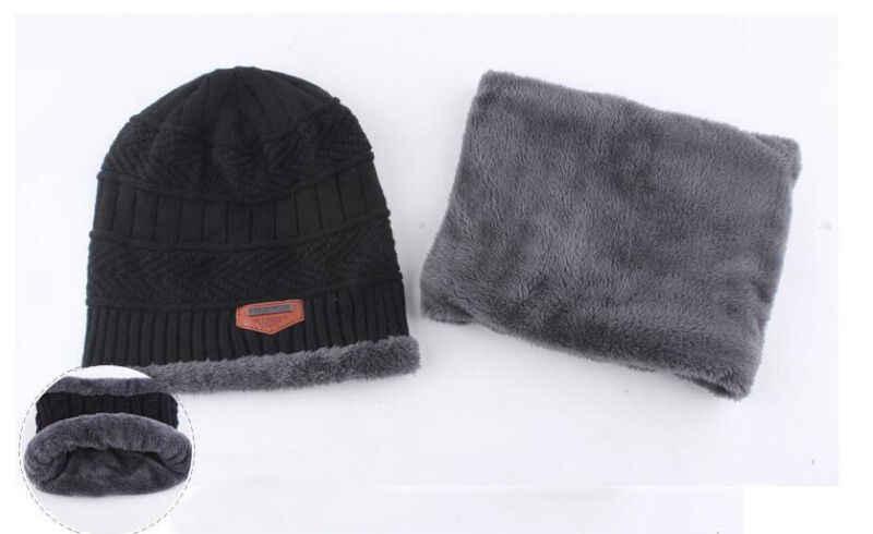 الرجال النساء Unisexy قبعة صغيرة + وشاح سوار عنق دفئا الشتاء الحرارية تزلج قبعات الصلبة بسط مجموعة