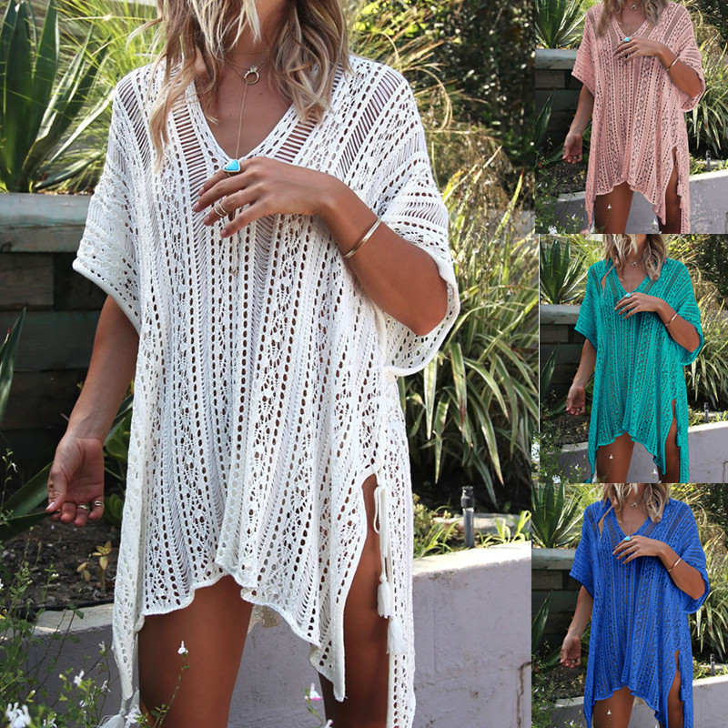 Women Beach Cover Ups Maternity Bikini Swimsuit Cover-ups Grid Crochet Smocked Swimwear Pregnancy Tunic Sexy Beach Mesh Dress Providing Amenities For The People; Making Life Easier For The Population Maternity Clothing Cover-ups