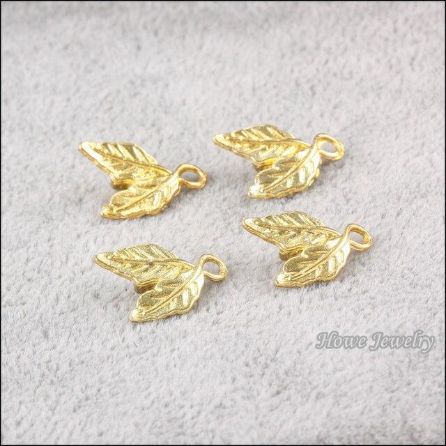 Wholesale 65 pcs gold color plated tree leaf Pendant zinc Alloy fit DIY Fashion charm Bracelet Necklace Jewelry Accessories