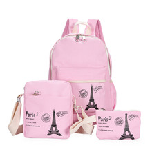 Fresh Canvas Women Backpack big girl student book bag with purse laptop 3pcs set bag high quality ladies school bag for teenager big science 3 student book