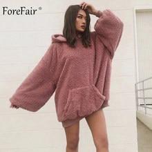 Forefair abrigo de piel de invierno de las mujeres suéteres con capucha de  gran tamaño Casual oso de peluche de color rosa falso. fb92d87c46d6