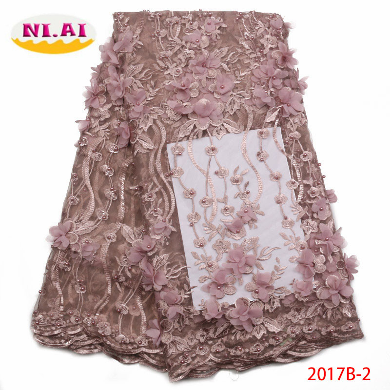 French Net Lace Fabric 2018 High Quality African Nigerian Embroidered Tulle Lace Fabric With Beads For