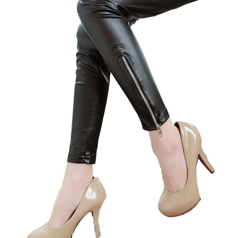 2018 New Solid   Legging   Mid Denim Autumn Women Slim Band   Legging   Leather Pants Zipper Seam High Elasticity Pencil Tights Leggins