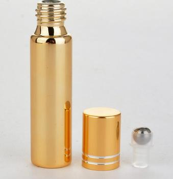 100pcs/lot Fast shipping 10ml Metal Roller Bottle For Essential Oils UV Roll-on Glass Bottles 2 colors SY90