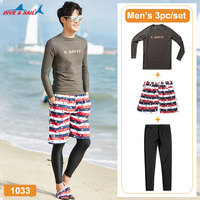 Men's Basic Long Sleeve Rashguard UV Sun Protection Athletic Swim Shirt Leggings UPF 50+ 3 Piece Set Rash Guards Adult Youth