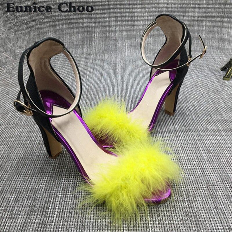 Femmes Marque Talons Fourrure Femme De Sandales b Eunice Cuir En D'été Partie Cheveux 2017 Lapin Concepteur Choo Chunky Boucle Hauts Piste Chaussures A nx7zFqwX