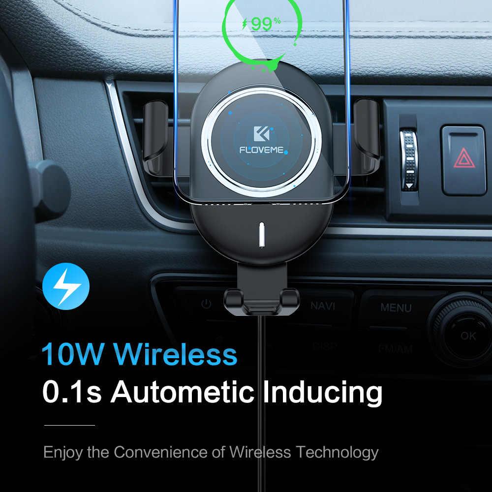 Floveme Qi Mobil Charger Nirkabel untuk iPhone X 8 10 W Nirkabel Cepat Pengisian untuk Samsung Galaxy S9 S8 Telepon pemegang Charger Di Mobil