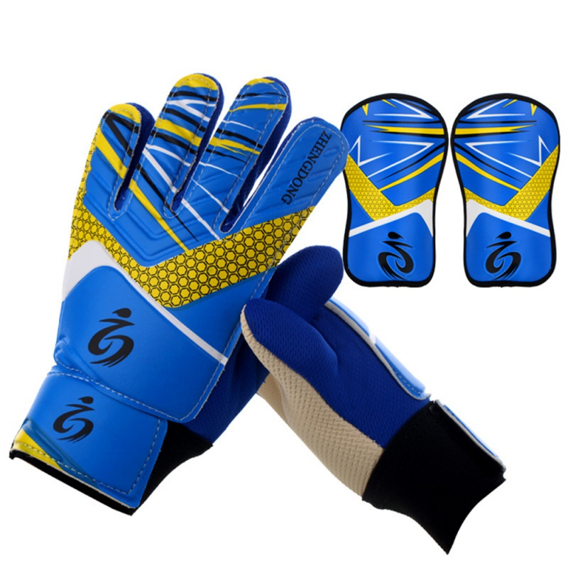 Kids Football Soccer Goalkeeper Anti-Slip Training Gloves Breathable Gloves With Leg Guard Protector Team Sports