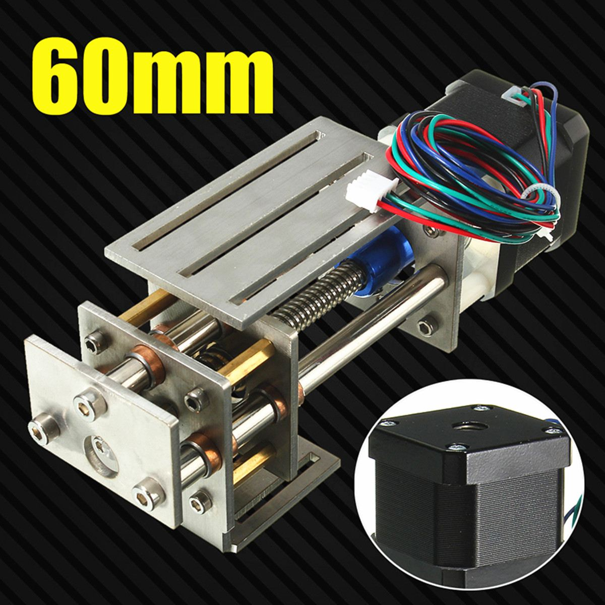 1Pcs 12V New 60MM 3 Axis DIY CNC Z Axis Slide Engraving Engrave Machine Milling Linear Motion cnc z axis slide table 60mm stroke diy milling linear motion 3 axis engraving machine new