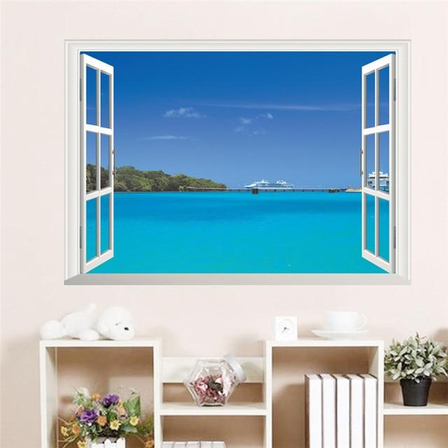 US $4.31 9% di SCONTO|Mare blu oceano paesaggio vela soggiorno decorativi  adesivi murali 3d finestra poster soggiorno decorazioni bagno decor in Mare  ...
