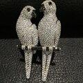 Унисекс брошь пен двойной попугай брошь пен стерлингового серебра 925 пробы с кубической циркон высокое качество мужчина женщины ювелирные изделия
