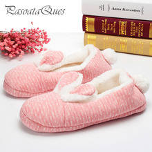 Cute Rabbit Home Slippers Women House Shoes Warm Winter Flats For Girls Ladies Indoor Bedroom Cotton Soft Bottom Comfortable