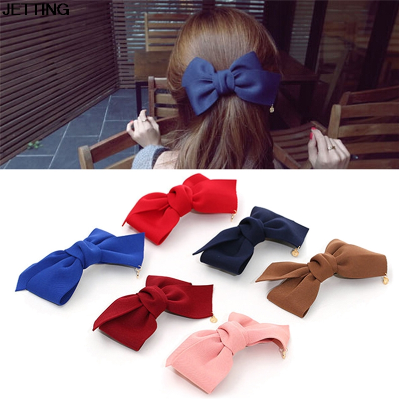 Hot Selling Big Solid Cloth Bows Hair Clips Hairpins Hair Accessories for Women Girl Wedding Hair Jewelry