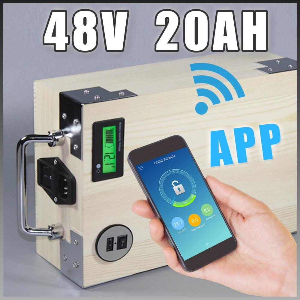 app 48V 20Ah Elektrická kola LiFePO4 Baterie + BMS, Nabíječka Bluetooth GPS ovládání 5V USB Port Pack skútr elektrický kolo