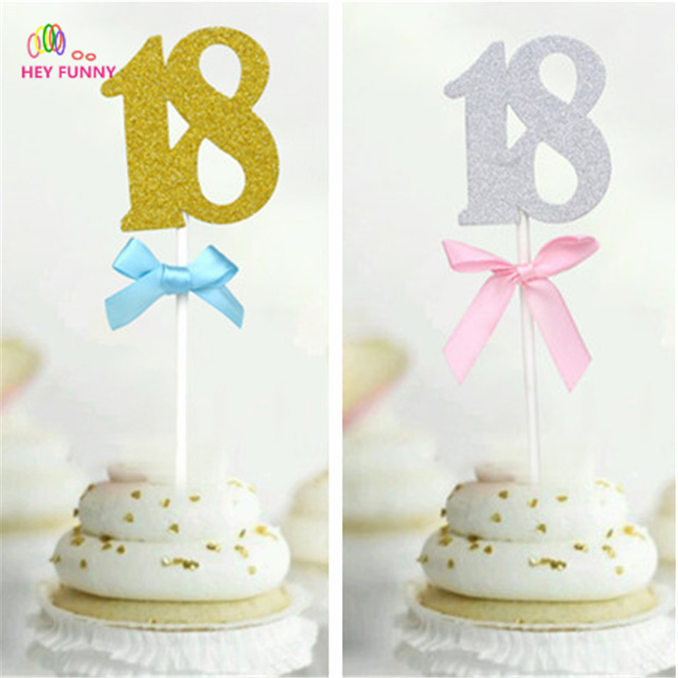 1pc Cake Topper 18th Birthday Party Decoration With Pink Bows Cupcake Toppers Food Fruit Picks 18 Years Celebration