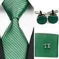 Accesorios Lazos para Los Hombres de Rayas Sólido Negocio Corbata De Seda Sets Gravatas Corbata Hanky Gemelos Boda Rojo Verde b