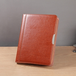 a4 zipper leather business document file folder manager bag conference agreement briefcase padfolio spiral report organizer 448B