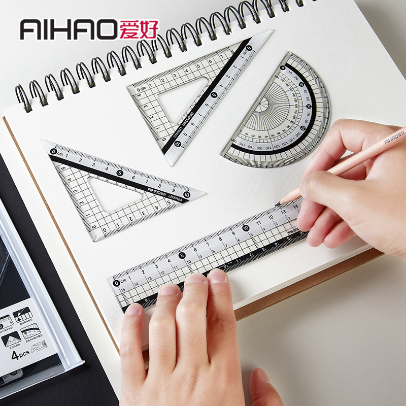 TUNACOCO Math Set Drawing Set Rules Engineer Plastic Ruler Protractor Set Of Drafting Qt1710097