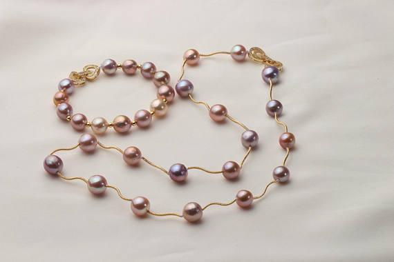 Очаровательный жемчуга набор Лаванда Цвет 9 10 мм пресноводный жемчуг Цепочки и ожерелья Браслет