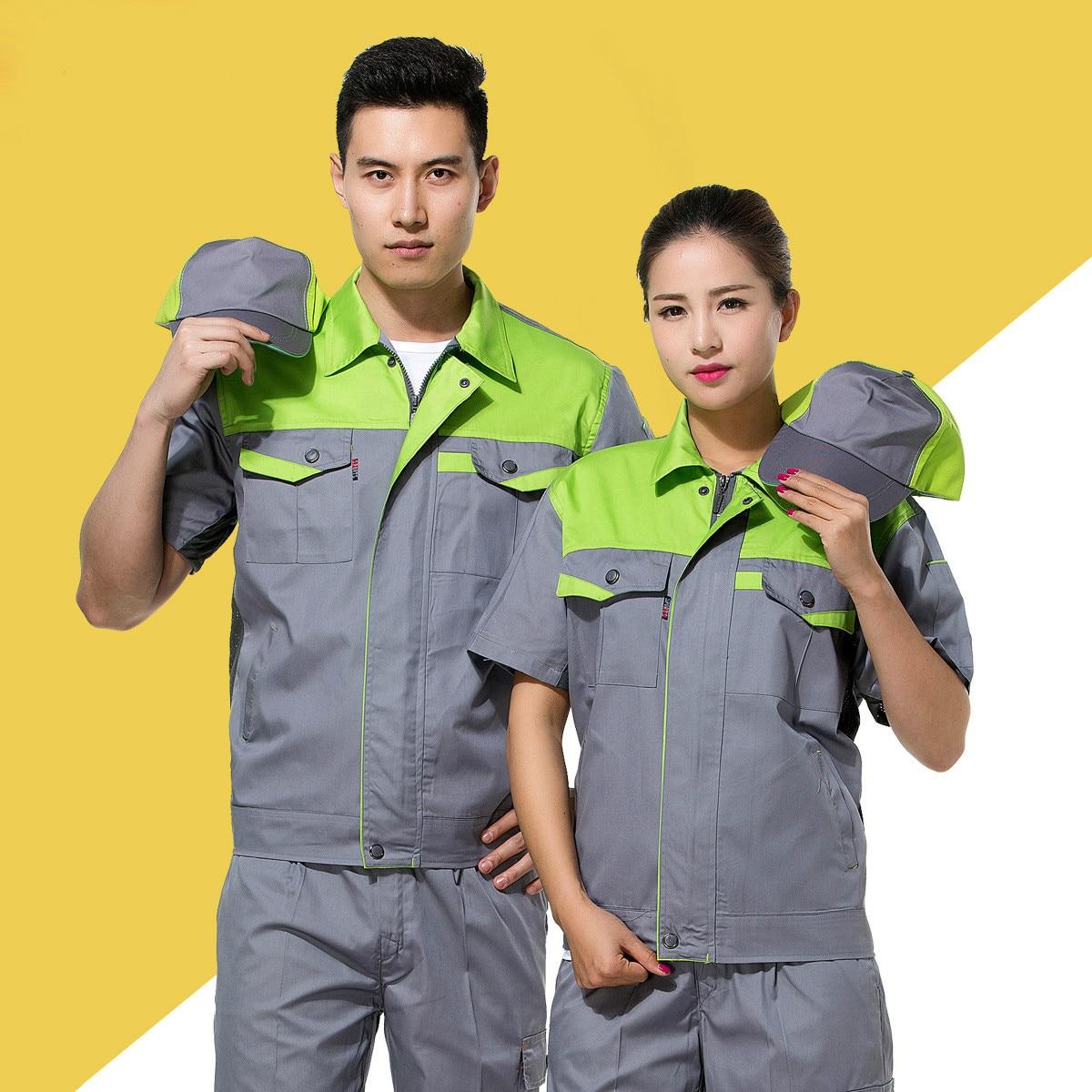 Unisex Short Sleeve Summer Engineering Uniforms Work Wear Clothing Auto Repair Workshop Suit Set Zipper Jackets Long Pants