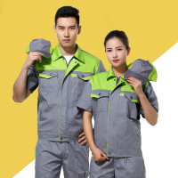 Unisex Short Sleeve Summer Engineering Uniforms Work Wear Clothing Auto Repair Workshop Suit Set Zipper Jackets Long Pants