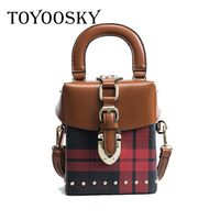 TOYOOSKY 2018 Famous Brand Diamond Box Handbags Mini Cube Brand Original Design Rivet Crossbody Bag For