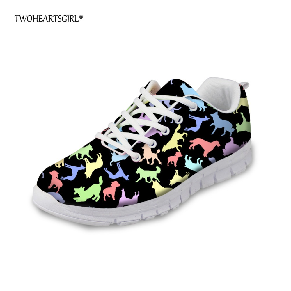 Twoheartsgirl Black Animal Cat Sneakers for Women Casual Ladies Flats Walking Shoes Breathable Mesh Walking Shoes Size 35-45 instantarts cute animal husky cat head print women fashion flats shoes air mesh sneakers for ladies lace up light weight shoes