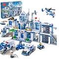 Qwz 1285 unids comisaría building block sets extra grande diy ladrillo ciudad montado juguetes educativos para niños juguetes aficiones