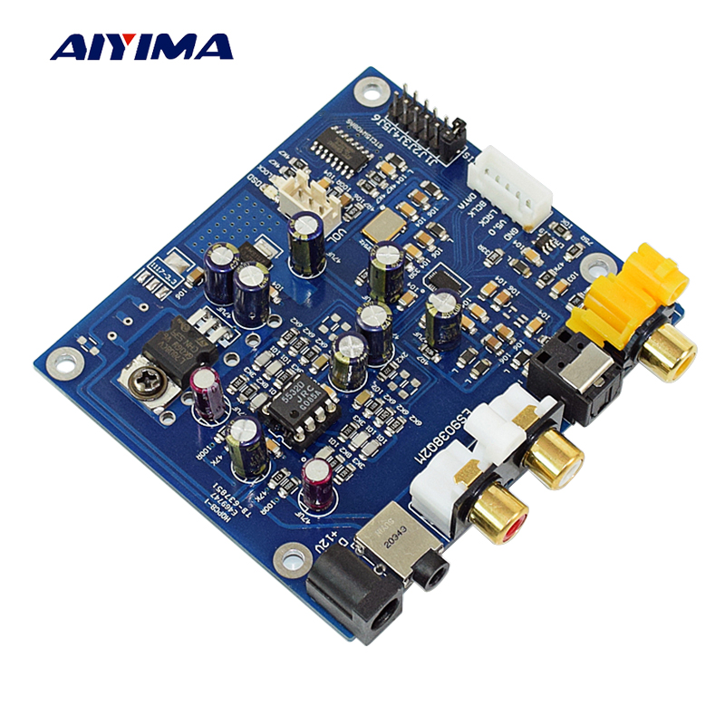 Aiyima ES9038Q2M Decoder Board DAC I2S DSD Optical Coaxial Input Decoders For Audio Amplifier Headpset Amplifier Output DIY smal a6 hifi digital amplifier 50wx2 dac digital 110v 220v native dsd512 usb optical coaxial lp player cd analog input
