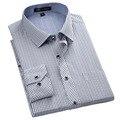 Nueva Moda 2016 Patchwork No-Hierro Classic Plaid camisas Slim fit a rayas Hombres de Negocios Formales camisas de vestir casuales